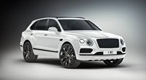 Pictures Bentley CUV White Metallic Gray background Luxurious Bentayga V8 Design Series, 2019 Cars