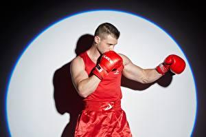 Fotos Boxen Mann Pose Hand Handschuh Kreise sportliches