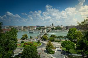 Images Budapest Hungary River Bridges Riverboat Trees Danube, Chain bridge Cities