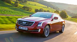 Wallpaper Cadillac Bokeh Red Driving Metallic Coupe ATS, Coupe EU-spec, 2014 Cars