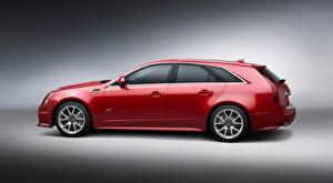 Bilder Cadillac Grauer Hintergrund Seitlich Rot Metallisch Kombi CTS-V, Sport Wagon auto