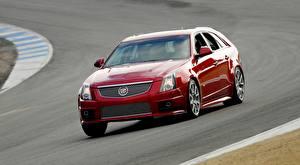 Hintergrundbilder Cadillac Rot Metallisch Bewegung Kombi CTS-V, Sport Wagon Autos