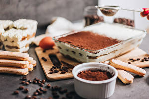 Sfondi desktop La torta Caffè Biscotti Polvere di cacao Grano Tiramisu