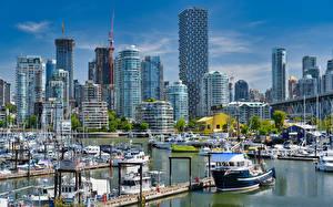 Hintergrundbilder Kanada Gebäude Seebrücke Boot Jacht Vancouver Burrard Marina Städte