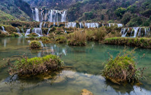 Wallpaper China Waterfalls Stones Kowloon Falls Nature