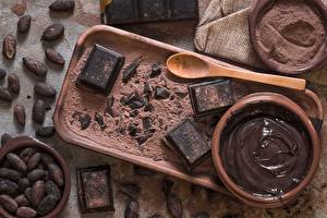 Pictures Chocolate Spoon Cocoa solids Oil cocoa bean Food