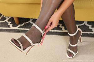 Image Closeup Legs Hands Stilettos Pantyhose young woman