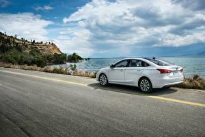 Wallpapers Coast Roads Changan White Metallic Chinese  Cars