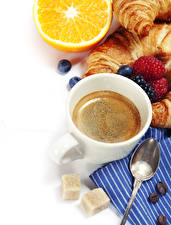 Image Coffee Raspberry Blueberries Orange fruit Croissant White background Cup Spoon Sugar