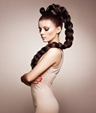 Image Colored background Brown haired Plait Side Modelling