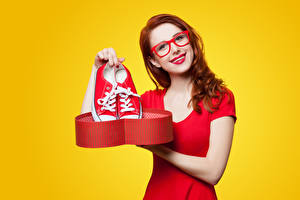Pictures Colored background Redhead girl Eyeglasses Plimsoll shoe Glance Red lips
