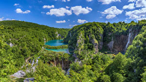 Image Croatia Parks Lake Sky Waterfalls Trees Clouds Plitvice Lakes Nature