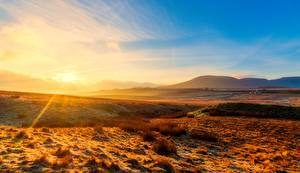 Wallpapers England Parks Sunrises and sunsets Rays of light Hill Horizon Yorkshire Dales national Park, Yorkshire Nature pictures images