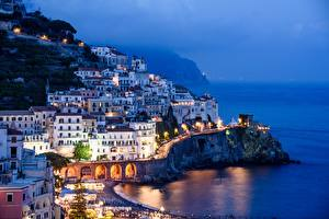 Wallpapers Evening Building Italy Amalfi Fog Salerno, Gulf Salerno Cities