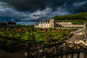 Wallpaper France Gardens Evening Landscape design Palace Lawn Fence Chateau Villandry and gardens Nature
