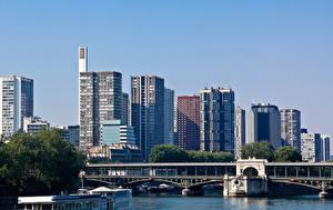Hintergrundbilder Frankreich Haus Fluss Brücke Paris Städte