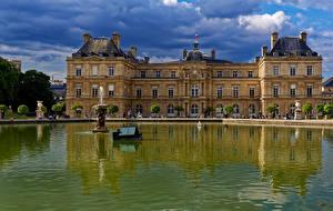 壁纸、フランス、池、噴水、パリ、宮殿、Luxembourg Gardens、都市、