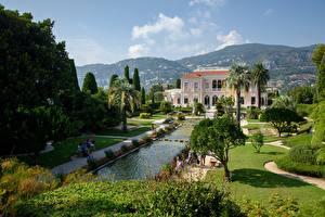 Bilder Frankreich Villa Teich Bäume Rasen Villa Ephrussi de Rothschild