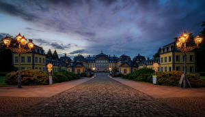 Hintergrundbilder Deutschland Burg Nacht Straßenlaterne Arolsen Castle, Bad Arolsen