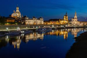 Image Germany Dresden Rivers Riverboat Night time Waterfront Elbe river, Bruhl's Terrace Cities