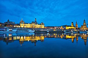 Photo Germany Dresden Rivers Riverboat Evening Elbe River Cities