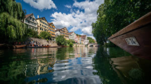 Pictures Germany Houses River Boats Trees Clouds Canal  Cities