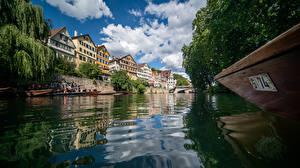 Hintergrundbilder Deutschland Haus Fluss Boot Bäume Wolke Kanal  Städte