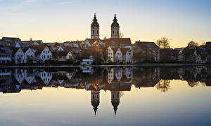 Pictures Germany Lake Building Church Reflection Bad Waldsee Cities