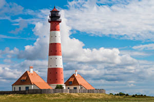 Pictures Germany Lighthouses Clouds North Frisia, Westerhever Lighthouse