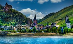 Wallpapers Germany Mountain Houses Rivers Castle HDRI Bacharach, Stahleck castle