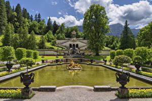 Fotos Deutschland Park Teich Skulpturen Landschaftsbau Palast Bäume Linderhof Palace park Natur