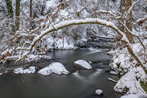 Wallpapers Germany Winter Forests Rivers Stones Snow Rheinland-Pfalz