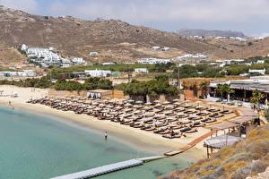 Hintergrundbilder Griechenland Küste Resort Strand Kalo Livadi, Mykonos Natur