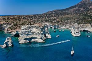 Hintergrundbilder Griechenland Küste Schiffe Felsen Kleine Bucht Ksylokeratia Milos Natur