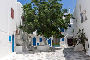 Hintergrundbilder Griechenland Haus Bäume Kalo Livadi, Mykonos