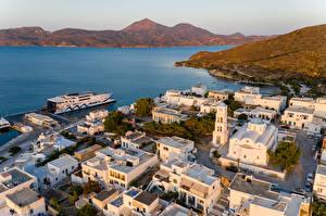 Bilder Griechenland Gebäude Schiffsanleger Bucht Von oben Adamas, Milos