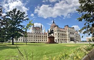 Hintergrundbilder Ungarn Budapest Haus Wolke Hungarian Parliament