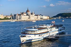 Wallpaper Hungary Budapest Rivers Riverboat Bridges Parliament, Danube Cities