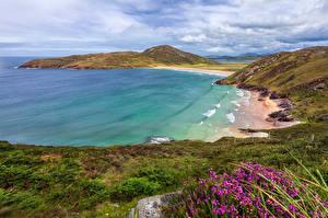 Hintergrundbilder Irland Küste Hügel Wolke Kleine Bucht Donegal Natur