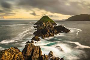 Hintergrundbilder Irland Küste Felsen Kerry Natur