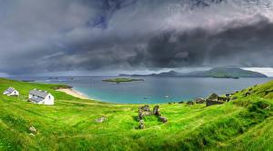 Bakgrundsbilder på skrivbordet Irland Kusten Ruinerna Stormmoln Kerry Natur