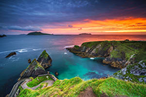 Fotos Irland Küste Sonnenaufgänge und Sonnenuntergänge Felsen Kerry Natur