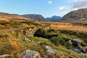 Images Ireland Mountain Stone Bridges Made of stone Dunlewey, Donegal Nature
