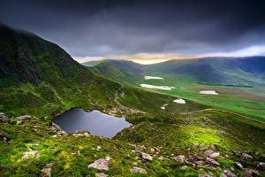 壁纸、アイルランド、山、石、雲、丘、Kerry、自然、