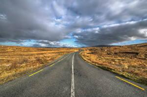 Hintergrundbilder Irland Straße Wolke Donegal Natur
