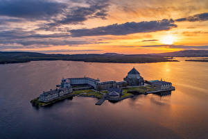 Images Ireland Sunrises and sunsets Lake Island Evening Church From above Donegal, Lough Derg, St Patrick's Sanctuary Nature