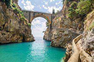 Bilder Italien Brücke Felsen