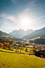 Pictures Italy Mountains Autumn Forests Valley Village Sun Val Gardena, Ranui Nature
