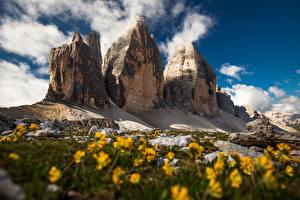 Photo Italy Mountains Crag Clouds Dolomites Nature