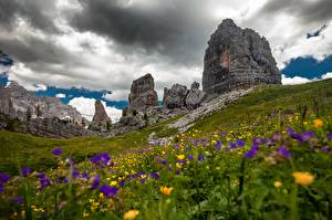 Pictures Italy Mountain Grasslands Rock Alps Clouds Grass Dolomites, meadow geranium Nature